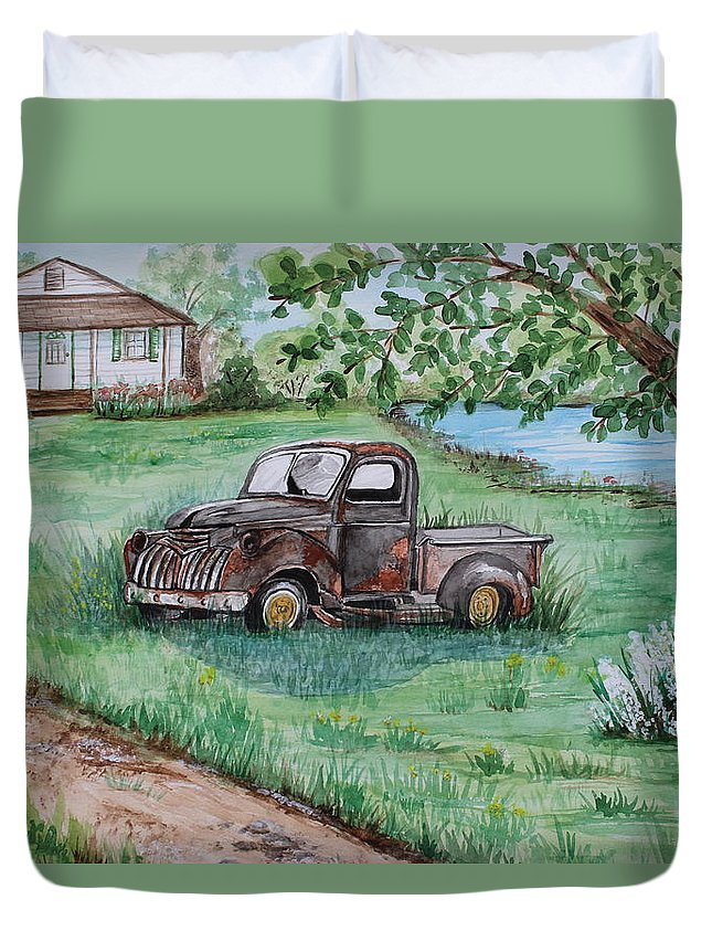 Trucks Duvet Cover featuring the painting Put Out To Pasture by Tina Huffman