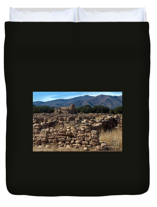 New Mexico Duvet Cover featuring the photograph Puye Reservation Mesa by John Greco