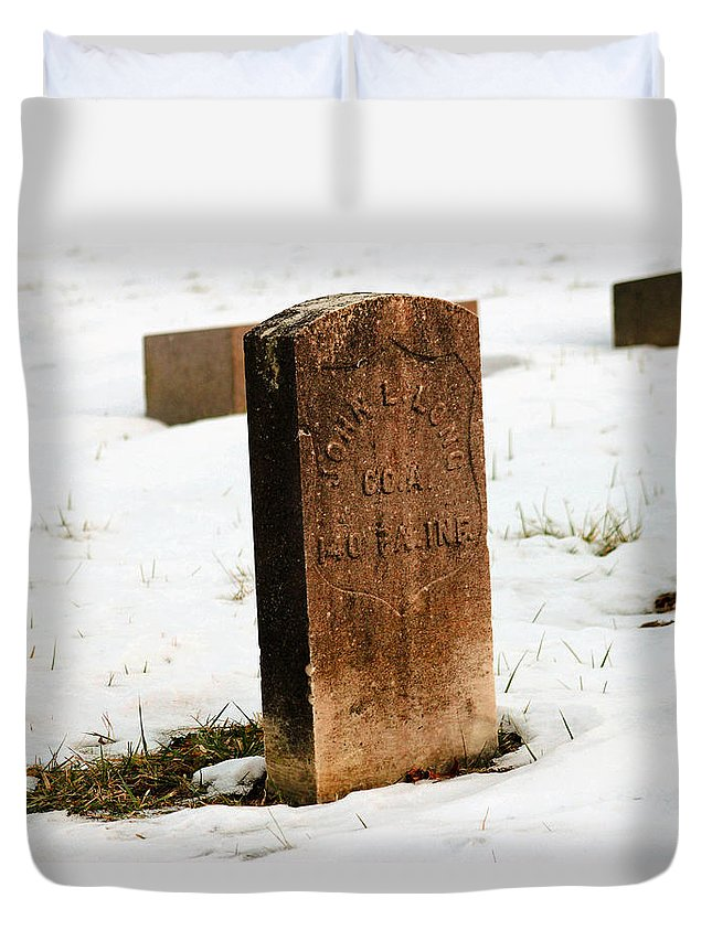 Tombstone Duvet Cover featuring the photograph Pvt John L. Long by Howard Tenke