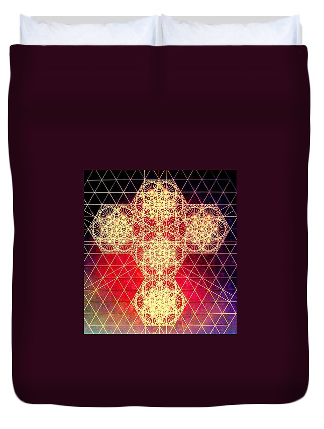 Cross Duvet Cover featuring the drawing Quantum Cross Hand Drawn by Jason Padgett