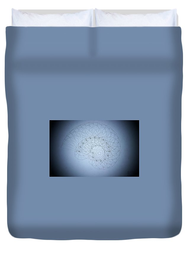 Seashell Duvet Cover featuring the drawing Quantum Nautilus Spotlight by Jason Padgett