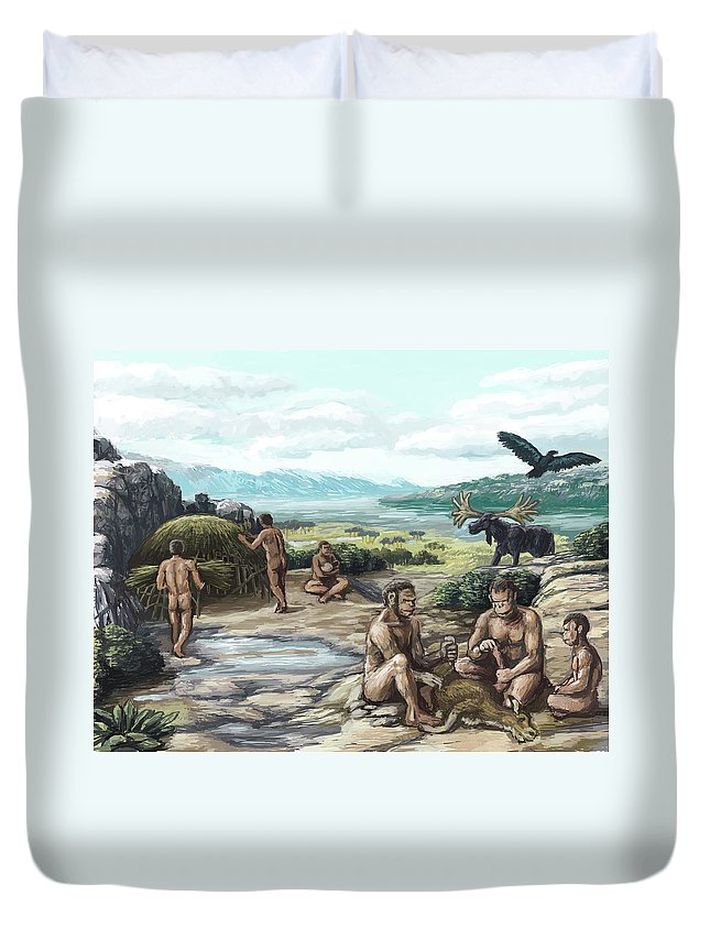 Science Duvet Cover featuring the photograph Quaternary Period, Hominid Settlement by Spencer Sutton