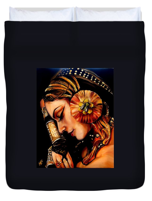 Beauty Duvet Cover featuring the painting Queen Bee by Em Kotoul