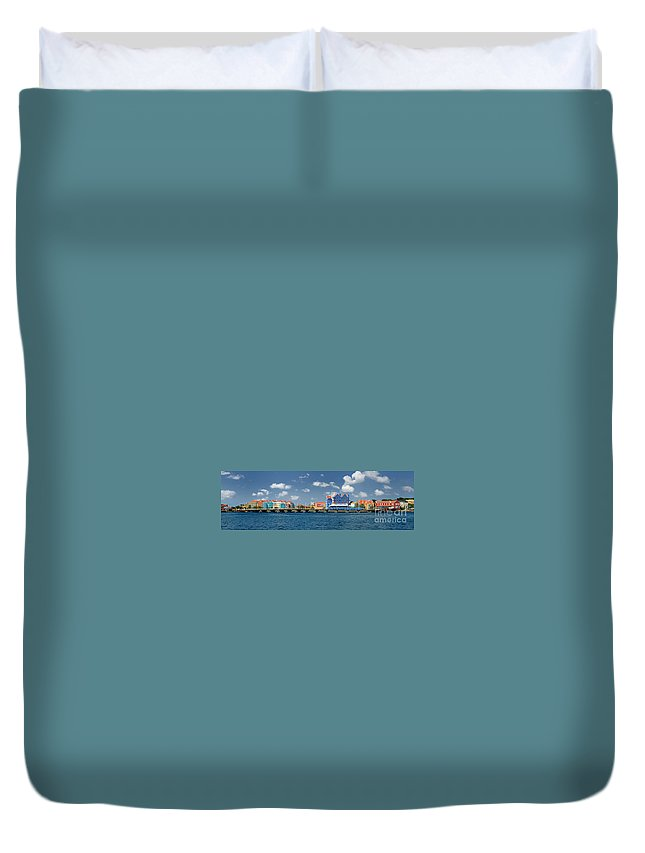 Willemstad Duvet Cover featuring the photograph Queen Emma Bridge Open Curacao by Amy Cicconi