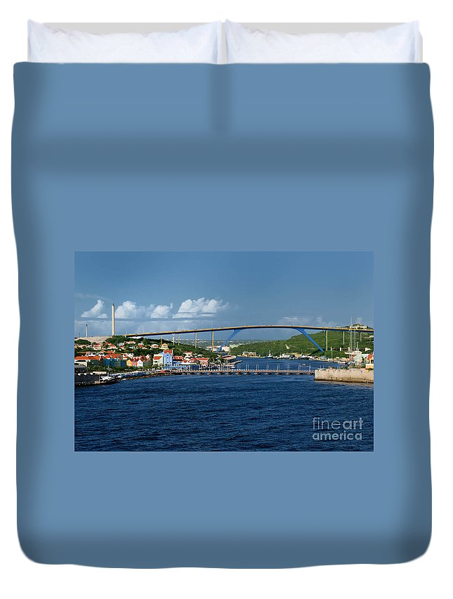 Willemstad Duvet Cover featuring the photograph Queen Juliana Bridge Queen Emma Bridge Curacao by Amy Cicconi
