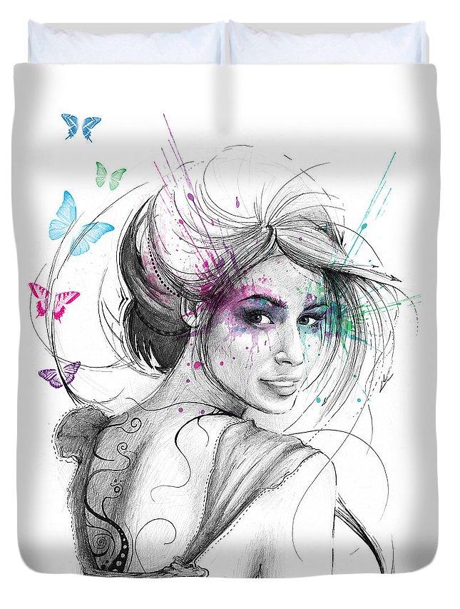 Butterflies Duvet Cover featuring the drawing Queen of Butterflies by Olga Shvartsur