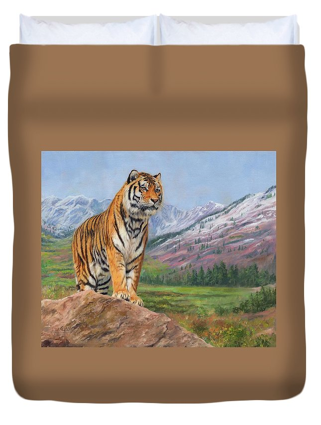 Tiger Duvet Cover featuring the painting Queen Of Siberia by David Stribbling
