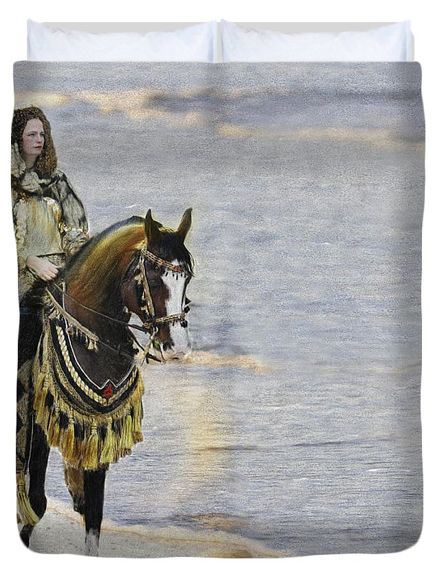 Horse Duvet Cover featuring the painting Queens War Horse by Constance Woods