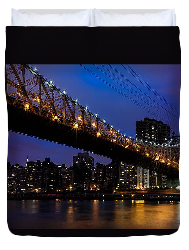 New York Duvet Cover featuring the photograph Queensboro Bridge by Rick Berk
