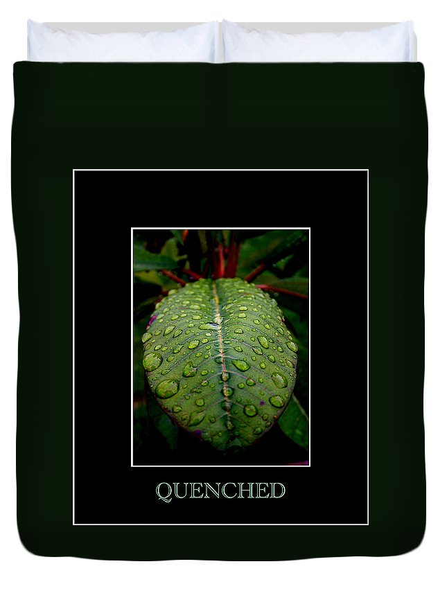 Leaf Duvet Cover featuring the photograph Quenched 2 by David Weeks