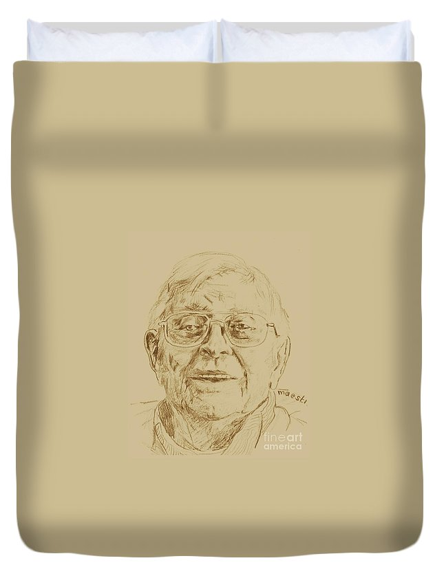 Memory Care Duvet Cover featuring the drawing Quentin by PainterArtist FIN