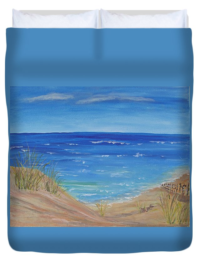 Seascape Duvet Cover featuring the painting Quick Seascape 1 by Barbara McDevitt