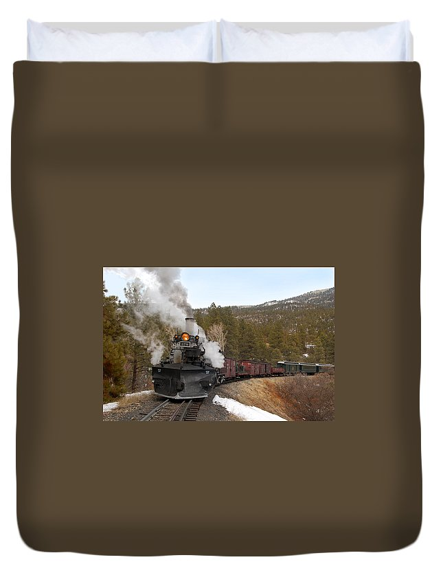 Steam Train Duvet Cover featuring the photograph Quick Stop On The Line by Ken Smith