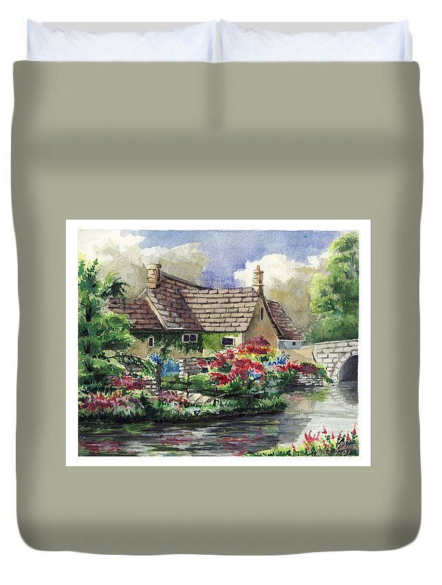 House Duvet Cover featuring the painting Quiet House Along The River by Alban Dizdari