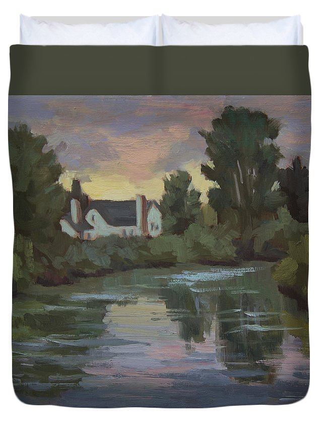 Duwamish River Duvet Cover featuring the painting Quiet Reflections Duwamish River by Diane McClary