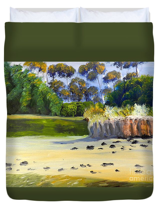 Impressionist Duvet Cover featuring the painting Quiet Sand By The Creek by Pamela Meredith