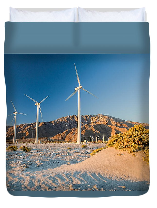 Wind Turbine Duvet Cover featuring the photograph Quiet Sunrise Means No Power by Scott Campbell