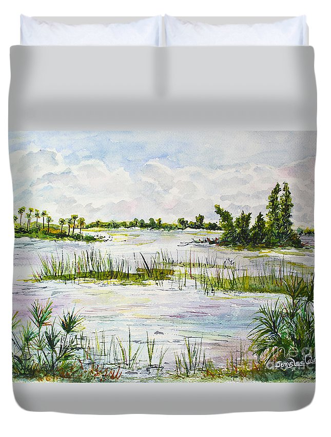 Florida Duvet Cover featuring the painting Quiet Waters Park Deerfield Beach Fl by Janis Lee Colon