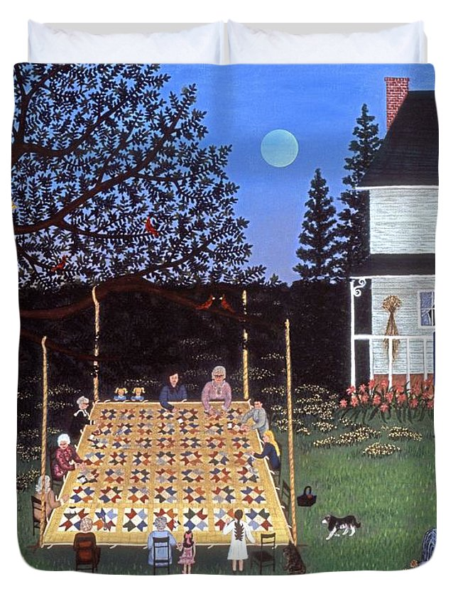 Folk Art Quilting Duvet Cover featuring the painting Quilting In The Country by Linda Mears