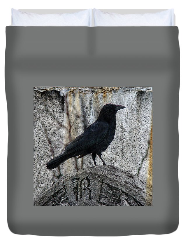 Raven Duvet Cover featuring the photograph R Is For Raven by Gothicrow Images