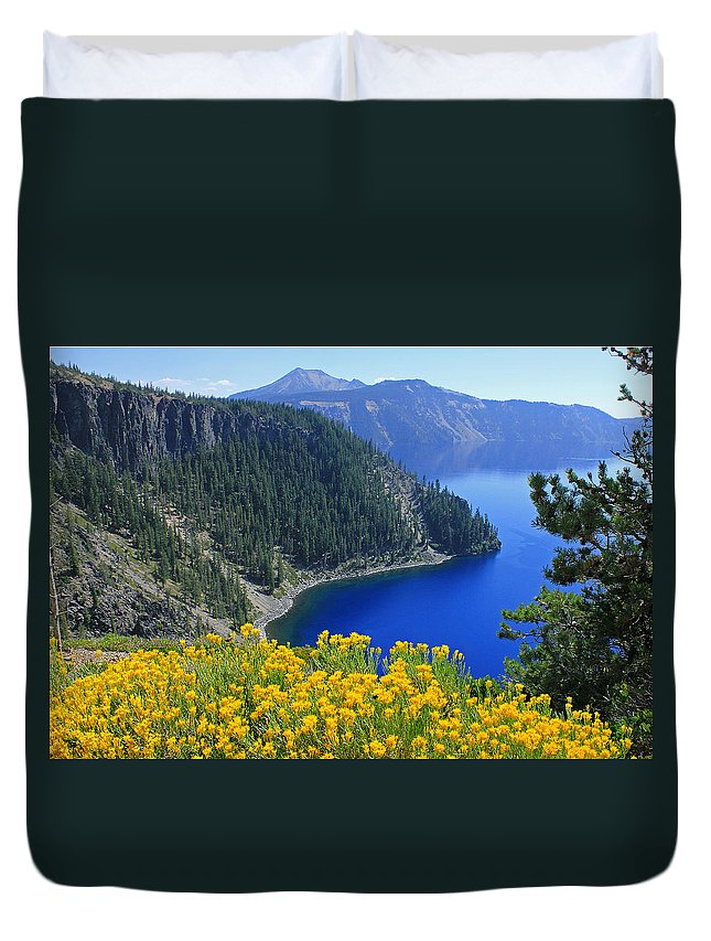 Rabbit Brush Duvet Cover featuring the photograph D2m5622-rabbit Brush At Crater Lake by Ed Cooper Photography