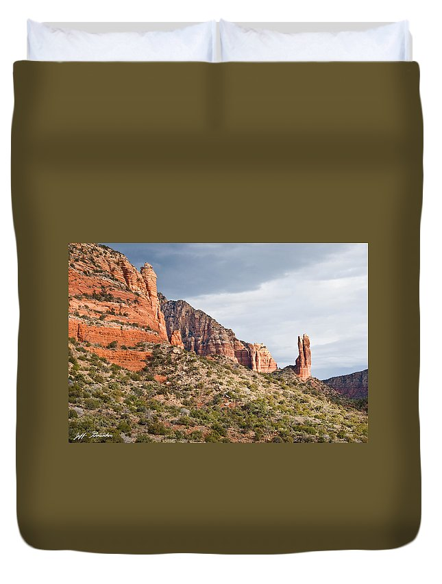Arizona Duvet Cover featuring the photograph Rabbit Ears Spire At Sunset by Jeff Goulden