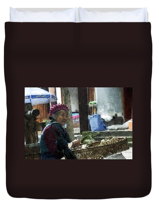 Asian Duvet Cover featuring the photograph Rabbit Vender Water Color 2 by David Lange