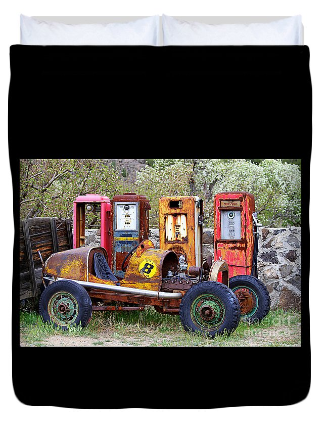 Race Car Duvet Cover featuring the photograph Race Car Final Pit Stop by Catherine Sherman