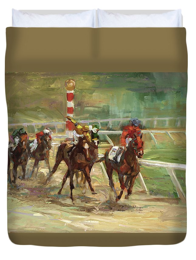 Horse Duvet Cover featuring the painting Race Horses by Laurie Snow Hein