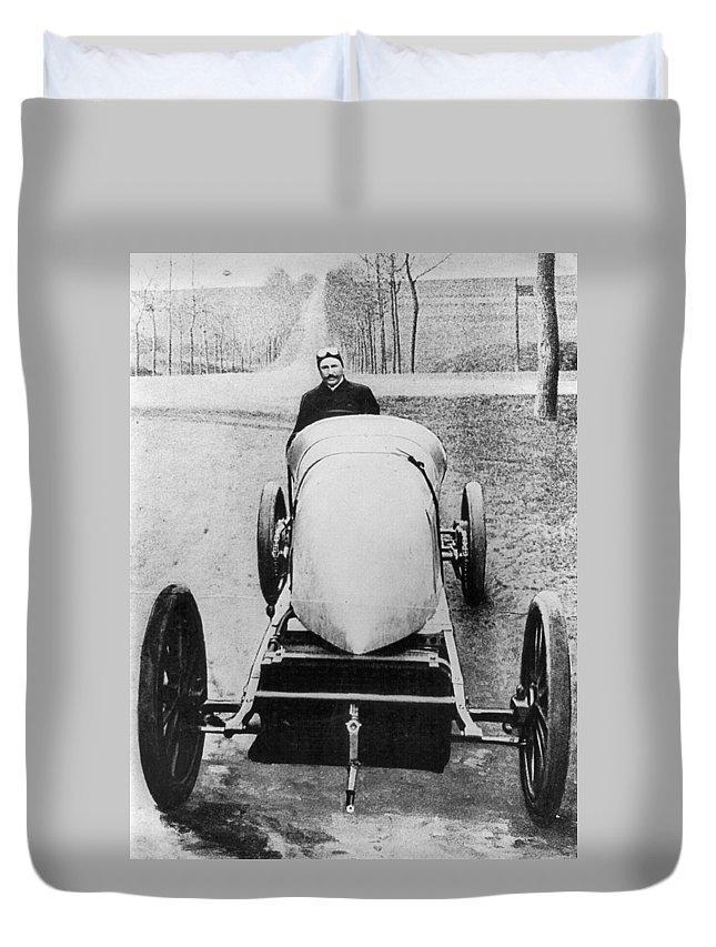 1906 Duvet Cover featuring the photograph Racecar Driver, C1906 by Granger