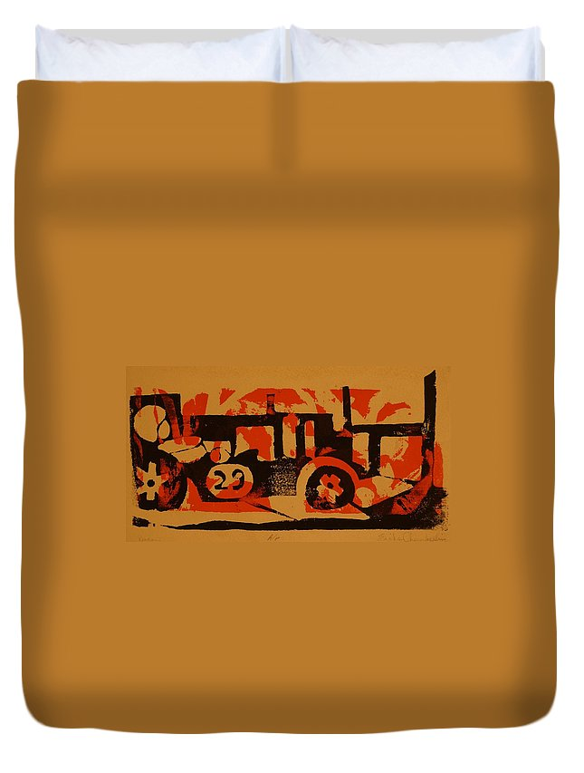 Lola Formula C Duvet Cover featuring the painting Racer by Erika Chamberlin