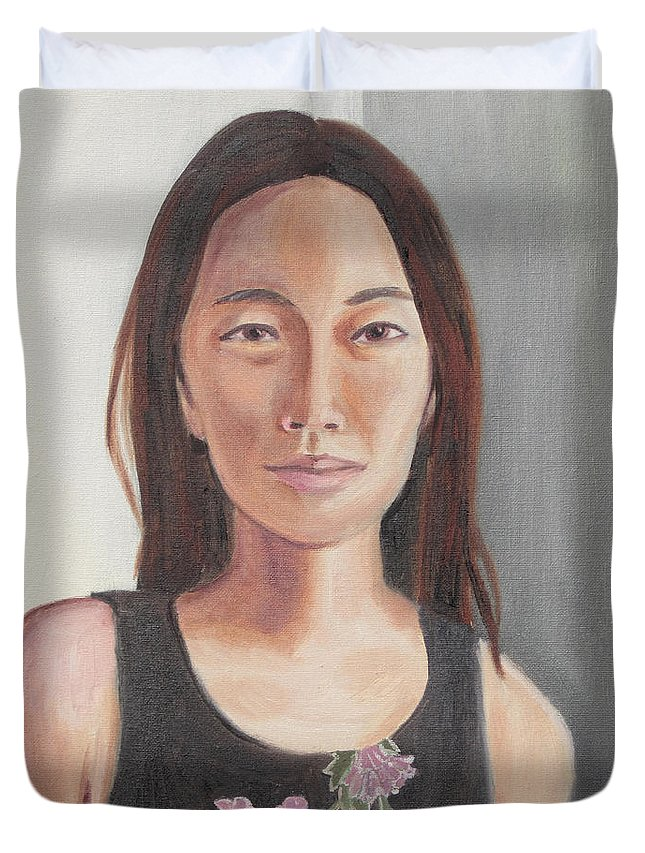 Portrait Duvet Cover featuring the painting R by Jeffrey Oleniacz