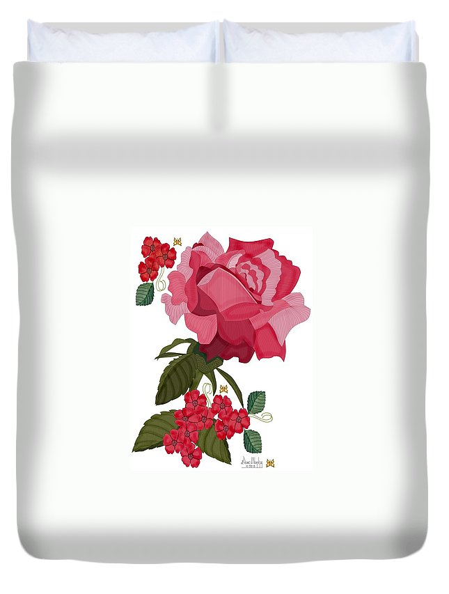 Red Rose Duvet Cover featuring the painting Rad Pink And Red Rose by Anne Norskog