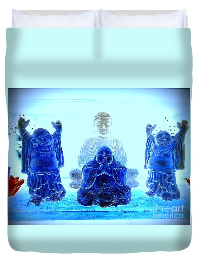 Buddhas Duvet Cover featuring the photograph Radiant Buddhas by Ed Weidman