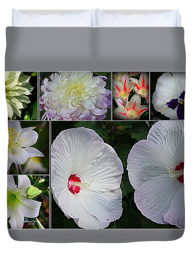 Radiant In White - Collage Of White Blossoms - White Flowers - Nature Duvet Cover featuring the photograph Radiant In White by Dora Sofia Caputo Photographic Design and Fine Art