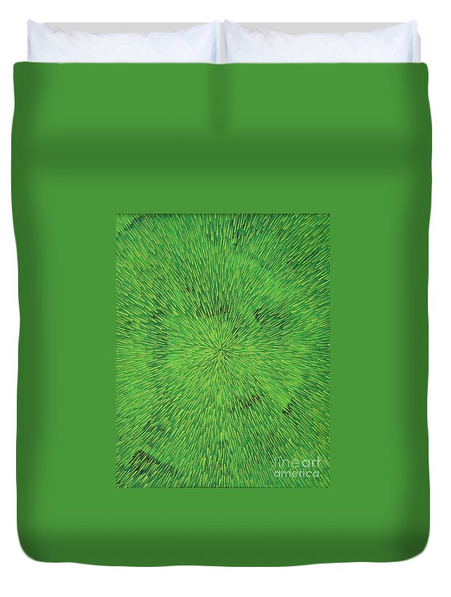Abstract Duvet Cover featuring the painting Radiation Green by Dean Triolo