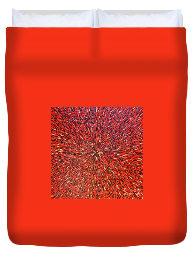 Abstract Duvet Cover featuring the painting Radiation Red by Dean Triolo