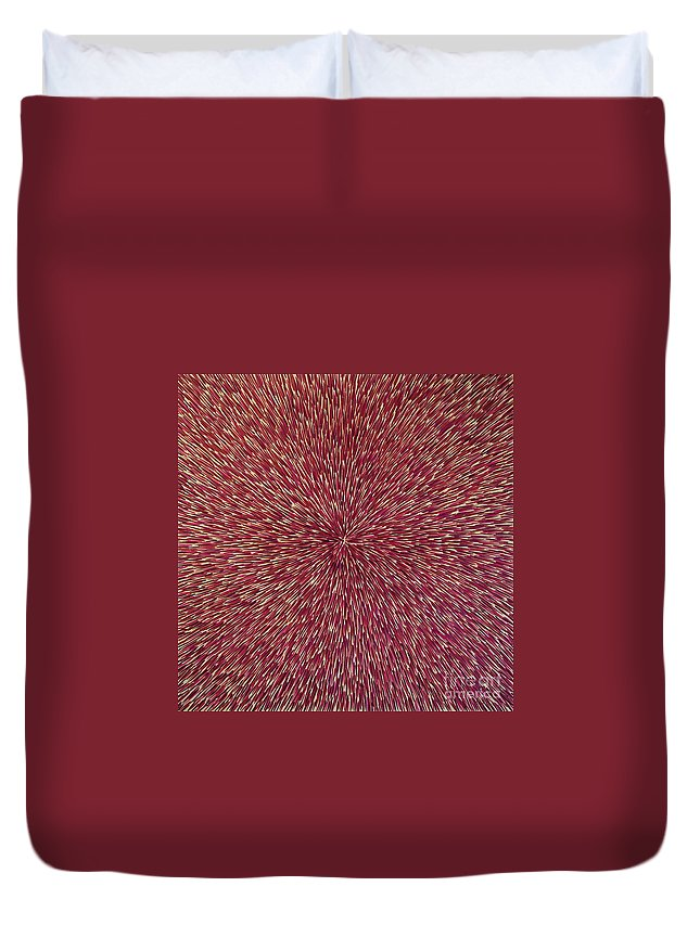 Abstract Duvet Cover featuring the painting Radiation With Brown Magenta And Violet by Dean Triolo