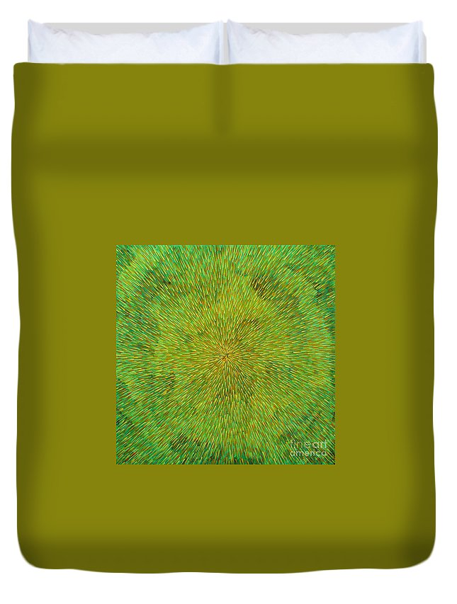 Abstract Duvet Cover featuring the painting Radiation With Green Yellow And Orange by Dean Triolo