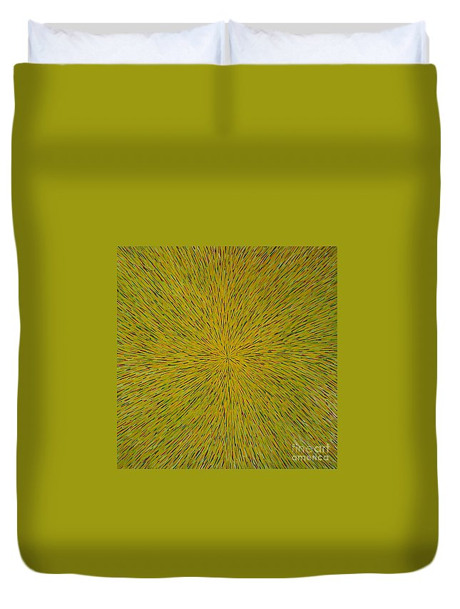 Abstract Duvet Cover featuring the painting Radiation with Yellow Green and Red by Dean Triolo