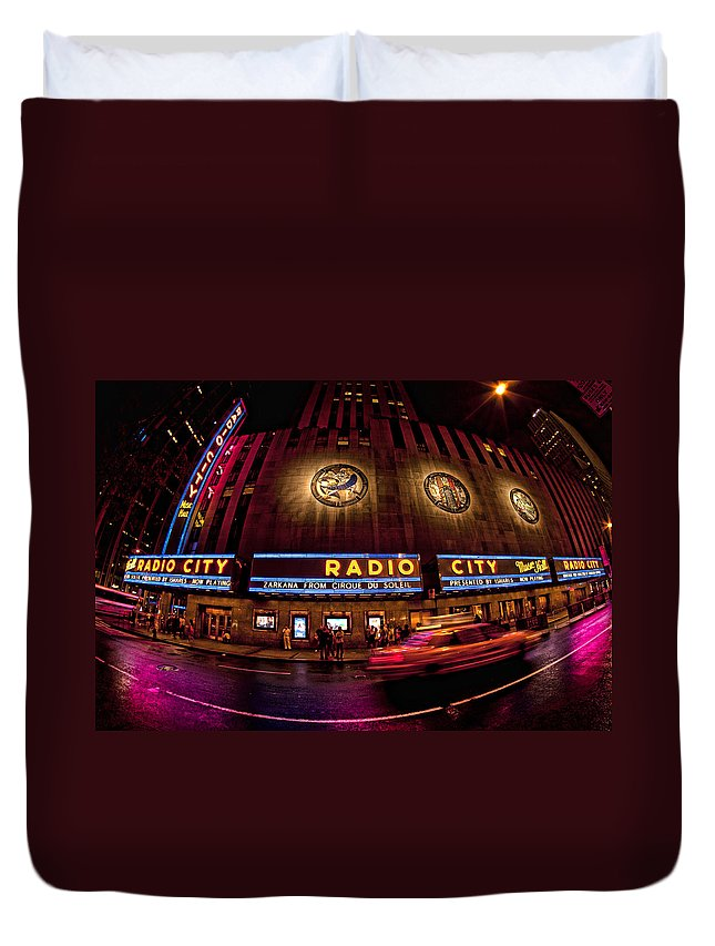 Radio City Duvet Cover featuring the photograph Radio City by Robert Work