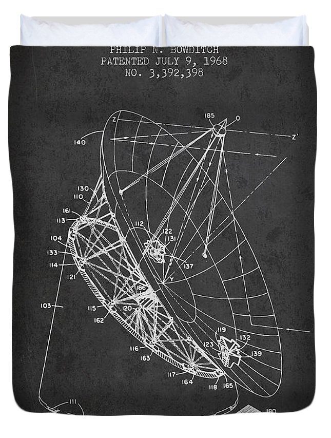 Telescope Duvet Cover featuring the digital art Radio Telescope Patent From 1968 - Charcoal by Aged Pixel