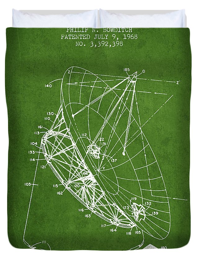 Telescope Duvet Cover featuring the digital art Radio Telescope Patent From 1968 - Green by Aged Pixel