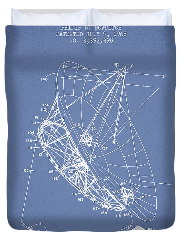 Telescope Duvet Cover featuring the digital art Radio Telescope Patent From 1968 - Light Blue by Aged Pixel