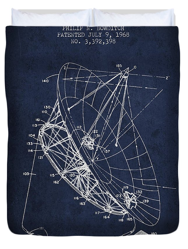 Telescope Duvet Cover featuring the digital art Radio Telescope Patent From 1968 - Navy Blue by Aged Pixel