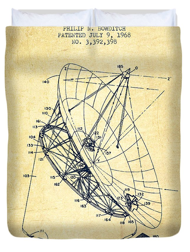 Telescope Duvet Cover featuring the digital art Radio Telescope Patent From 1968 - Vintage by Aged Pixel