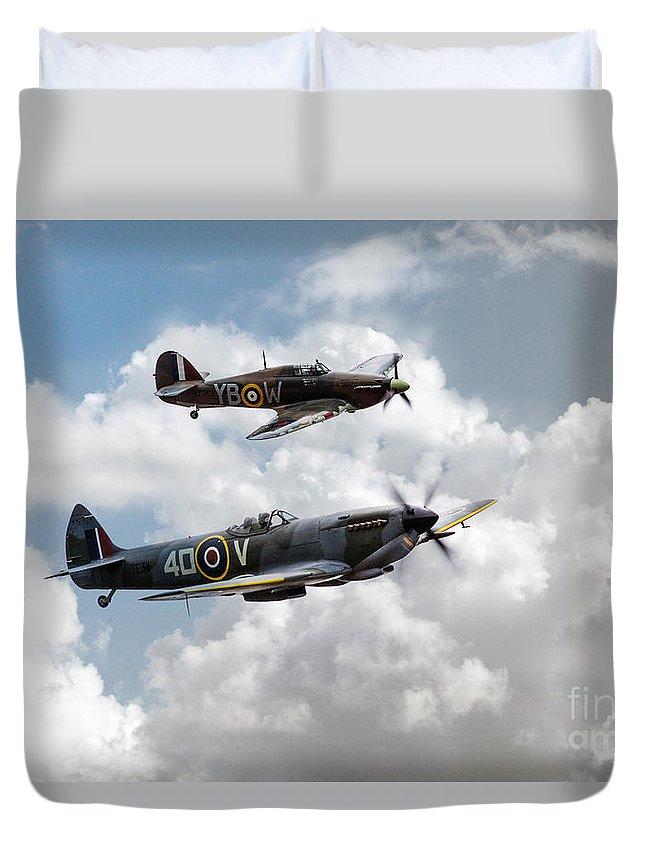 Bbmf Spitfire Duvet Cover featuring the digital art Raf Fighting Pair by J Biggadike