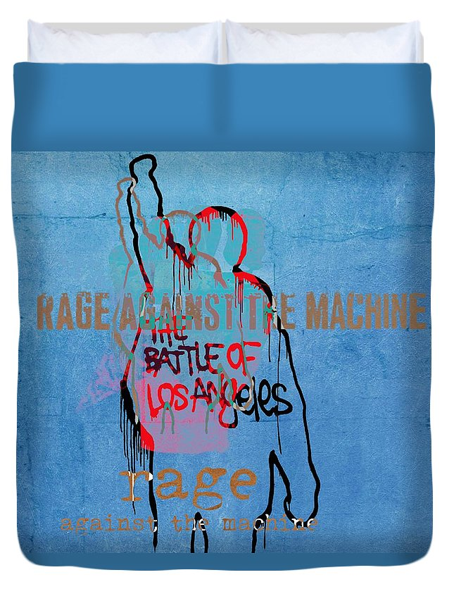 Rage Against The Machine Duvet Cover featuring the digital art Rage Against The Machine by Dan Sproul