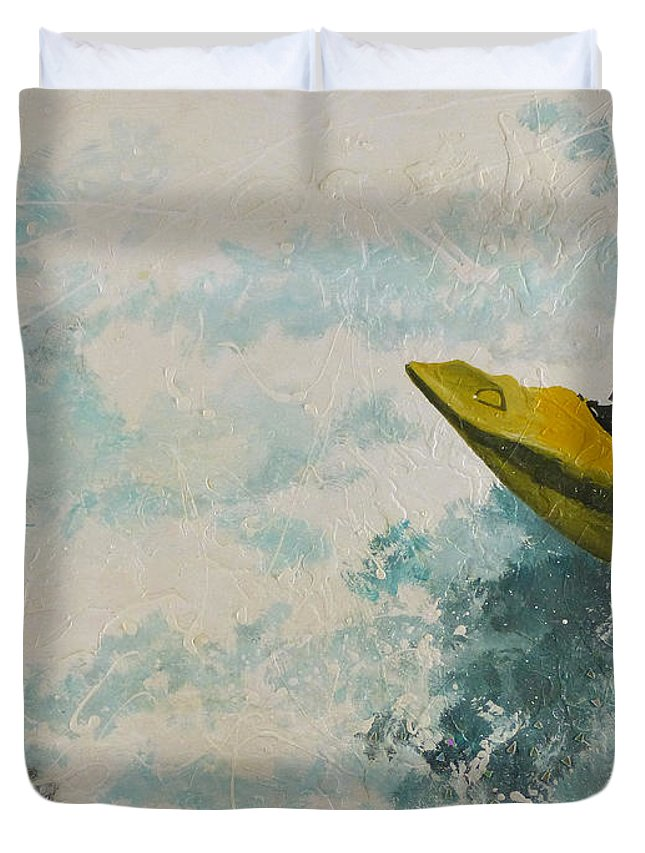 Hanzer Art Duvet Cover featuring the painting Raging Run by Jack Hanzer Susco