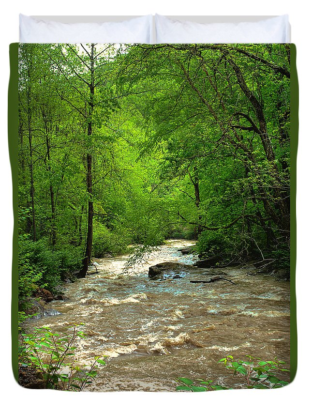 Featured Art Duvet Cover featuring the photograph Raging Waters - West Virginia Backroad by Paulette B Wright